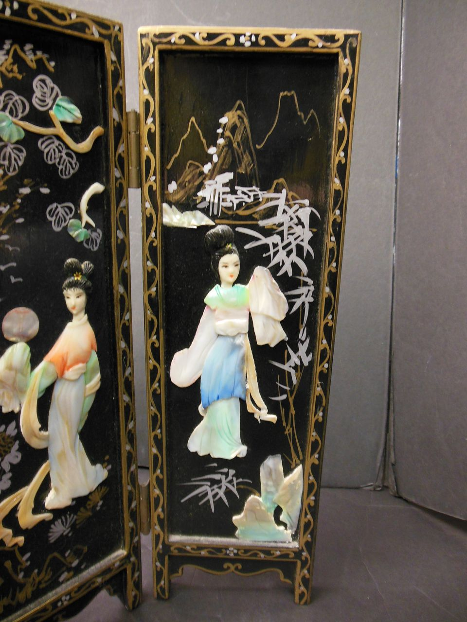 Minature Japanese Mother Of Pearl 4 Panel Screen From