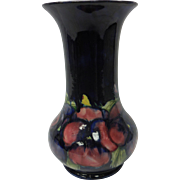 c. 1920 English Moorcroft Art Pottery Cobalt Blue Pansy Vase