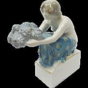 Signed Selb-Bavaria German Rosenthal Grape Carrier Porcelain Figurine by Rudolf Marcuse K477