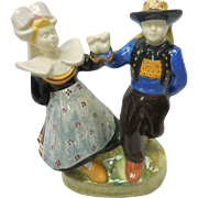 Signed French Faience Quimper Pottery Breton Folk Dancers Figure