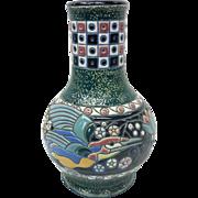 Art Nouveau Czechoslovakia Amphora Ceramic Vase With Colorful Bird Motif