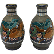 Pair of Art Nouveau Czechoslovakia Amphora Ceramic Vase With Duck Motif