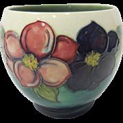 c. 1960 English Moorcroft Art Pottery Beige, Aqua, Pink, & Violet Dahlia Vase