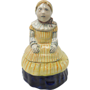 French Faience Quimper Pottery Figural Jar of Woman With Bonnet