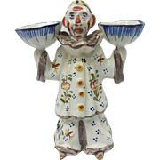 c. 1930 Signed French Faience Pottery Desvres Two Faced Clown Open Salt Figurine by George Mar