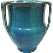 c. 1920 Rare Turqouise Neoclassical Garden Terra Cotta Galloway Pottery Tri-Handled Vase