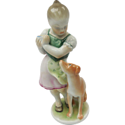 Hungarian Herend Porcelain Girl Scolding Dog Figurine