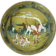 "Signed c. 1908 Buffalo Pottery Deldare Bowl – ""The Fallowfield Hunt. The Death"" by W. Fo"