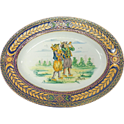 French Faience Quimper Pottery Breton With Pipes Motif Decorative Platter