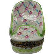 Miniature Limoges Porcelain French Boudoir Chair Box