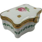 Miniature French Limoges Hand Painted Porcelain Rose Motif Box