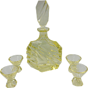 Art Deco Yellow Geometric Cloud Glass Decanter and Aperitif Glasses