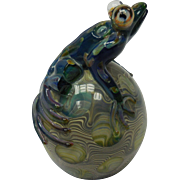 Signed Contemporary Art Glass Paperweight by Milon Townsend - Leopard Frog