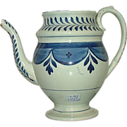 SOLD LEEDS Soft Paste Teapot Circa 1810 Decorated with Blue Flowered Swags & Sprig Tassels .