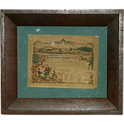 """REDUCED Civil War Period Framed & Dated 1862 """"Certificate of Appreciation"""" from"""