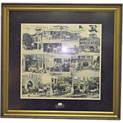 REDUCED Souvenir Lebanon,Pa. City Fire Department Framed Handkerchief Circa 1900 !