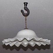 REDUCED PAIR of Blown  White Glass Smoke Bells with Ruffled Edges & Brass Hanging Chain !