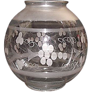"""REDUCED Mint Engraved with Frosted Bands """"Ball Shade"""" for Hanging Hall Lamp with 4 1"""