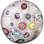 REDUCED Baccarat Spaced Millefiori Cane Paperweight with Gridel Figures Dated 1848 !!! From ..