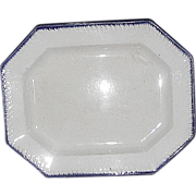 REDUCED Blue Feathered Edge Vegetable Platter  11 3/4 by 9 3/4 Inches .
