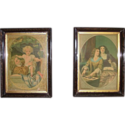 REDUCED Pair Matching Victorian Frames with Original Chromolithograph Prints 10 inches Wide by