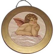 "REDUCED Glass Flue Cover with ""Young Winged Angel"" Looking up to Heaven  Circa 1900."