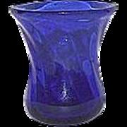 REDUCED Whimsical Blown Cobalt Blue Miniature Glass Vase !
