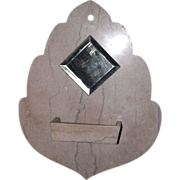"REDUCED Wall mounted ""Comb Case & Mirror"" in actual Cut Marble Leaf shaped  !!!"