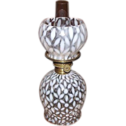 """REDUCED Miniature  White Opalescent """"Snowflakes"""" Pattern Miniature Oil Lamp with Ori"""
