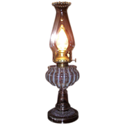 """Electrified Rare """"Nickel Plate Glass Company"""" Opalescent White Stripes Oil Lamp  wit"""