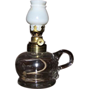 "REDUCED Rare Miniature Oil Lamp embossed ""Pat. App. For 1877""   on bottom with Gaffe"