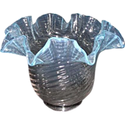 REDUCED Clear Spiral Twist to Blue Top Ruffled Art Glass Electric Lamp Shade! Ca. 1905.