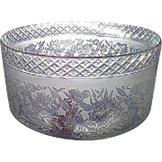 REDUCED Superbly Hand Cut & Acid Etched Decorated 4 inch Glass Shade for Oil Lamp or ...