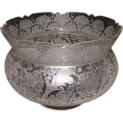 "REDUCED Eastlake King's Crown Shade ""Fans & Flora"" with a busy Acid Etched Flowers,"