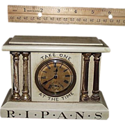 "REDUCED Miniature Drug Store Advertising Clock marked "" R*I*P*A*N*S Take One  At The Time"""