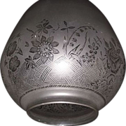 "REDUCED Mint Blown Glass Shade Frosted & Acid-Etched ""Basket of  Flowers""  Patte"