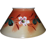 REDUCED Antique Blown Glass Slant Shade with Original Artist Painted Flower Decoration ! Ca. 1