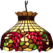 REDUCED Stained Glass Light with Grape Motif & Solid Brass Hanging Chain Ca. 1920 !!!