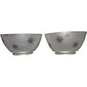 """REDUCED Matching Pair of  Frosted """"Cut to Clear Starburst"""" Pattern Gas Shades with 4"""