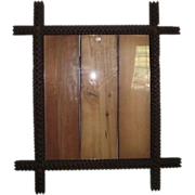 "REDUCED Large Tramp Art ""Zig-Zag"" Pattern  Walnut Picture Frame !!!  Circa 1888 Folk"