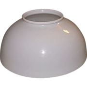 REDUCED Original 14 inch Blown Glass Milk White Hanging Library Oil Lamp Shade with 6 ...