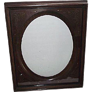REDUCED Victorian Solid Walnut Picture Frame with Gilded Incised Decorated Oval Insert ! Ca ..