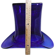 REDUCED GIANT Blown Cobalt Blue Glass 10 inch Top Hat  !!!