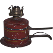 REDUCED Rare Shelf Clamping Oil Lamp  with Mint Unused Snapp Chimney !!! Ca. 1870's.