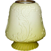 REDUCED Satin Yellow Cased over White Glass English Type Banquet Lamp Shade ! Ca.1890.