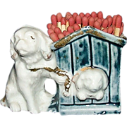 REDUCED German Bisque / China Cocker Spaniel with Dog House Match Holder !