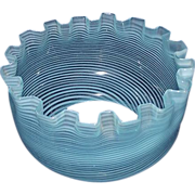REDUCED Opalescent Blue with White Spiral Twist Glass Shade Ca. 1890 !!! Base fitter is 5 inch