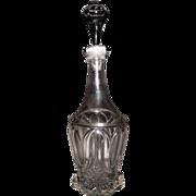 "REDUCED Civil War Period ""Tulip & Sawtooth "" Pattern Flint Glass Quart Decanter with a"