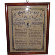 REDUCED German House Blessing Dated 1783 in Oak Frame  !!!