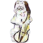 "REDUCED Rare Ceramic Bisque ""Dog Playing Instrument"" missing internal Whistle Ball o"